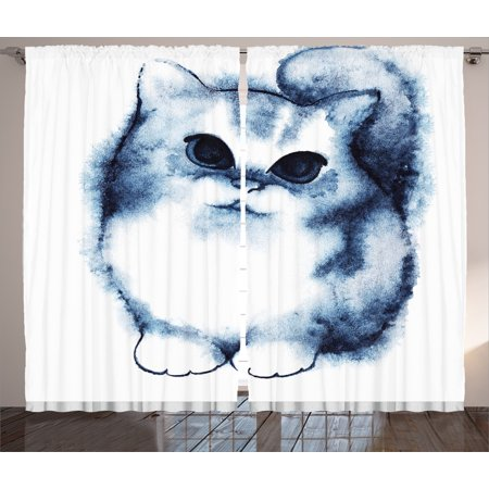 Cat Curtains 2 Panels Set, Cute Kitty Paint with Distressed Color Features Fluffy Cat Best Companion Ever Design, Living Room Bedroom Decor, Grey White, by