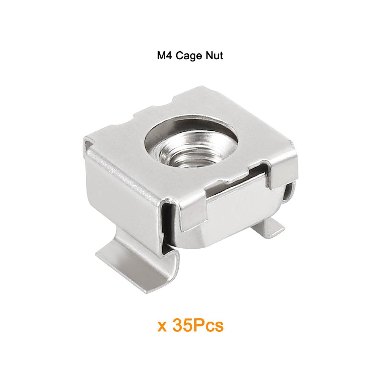 Unique Bargains 35pcs Carbon Steel Nickel Plated M4 Cage Nut for Server Shelf Cabinet - image 1 de 4