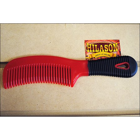 RED HILASON HORSE TACK EASY GRIP GROOMING PLASTIC MANE AND TAIL COMB 8 INCHES