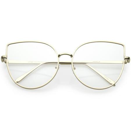 Women's Oversize Metal Cat Eye Glasses Slim Arms Flat Lens 59mm (Matte Gold / (Cat Eye Oversized Glasses)