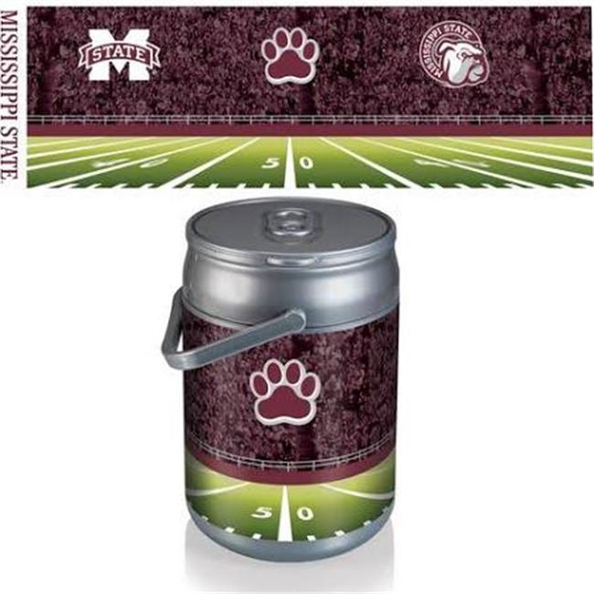 Picnic Time 690-00-000-385-0 Mississippi State Bulldogs Digital Print Football Can Cooler, Silver & Gray