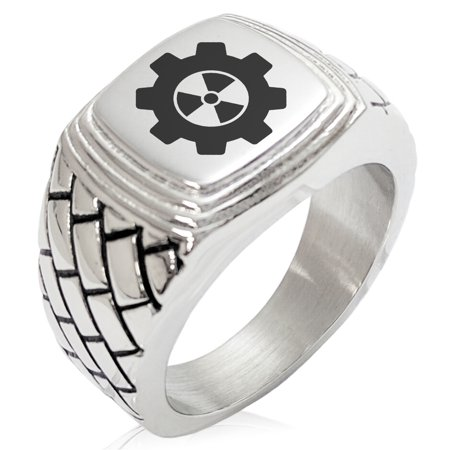 Stainless Steel Radioactive Gear Geometric Pattern Step-Down Biker Style Polished Ring ()
