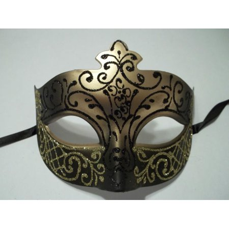 Black Gold scroll Venetian Mask Masquerade Ball Prom - Make A Crystal Ball For Halloween