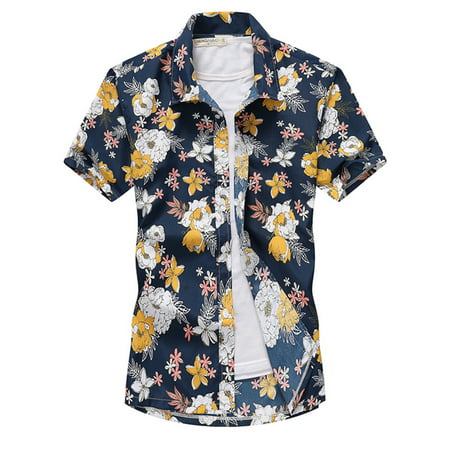 Mens Hawaiian Floral Printed Beach Short Sleeve Camp Shirt Tops Blouse
