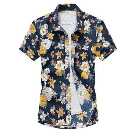 Mens Hawaiian Floral Printed Beach Short Sleeve Camp Shirt Tops Blouse (Printed Camp Shirt)