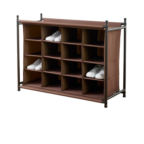 Neatfreak 16 Compartment Shoe Rack, Brown