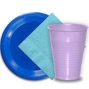 """50 Dark Blue Plastic Plates (9""""), 50 Lavender Plastic Cups (12 oz.), and 50 Light Blue Paper Napkins, Dazzelling Colored Disposable Party Supplies Tableware Set for Fifty Guests."""