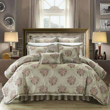 9-Piece Zanotti Decorator Upholstery Quality Jacquard Floral Fabric Complete Master Bedroom Comforter Set