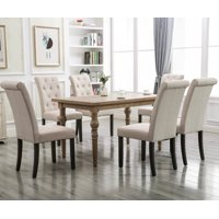 Clearance! Tufted Linen Dining Chairs Set of 2, Upholstered High Back Padded Dining Chairs w/Solid Wood Legs, Classic Fabric Parsons Dining Side Chair for Home/Kitchen/Living Room/Party, Beige, S12485