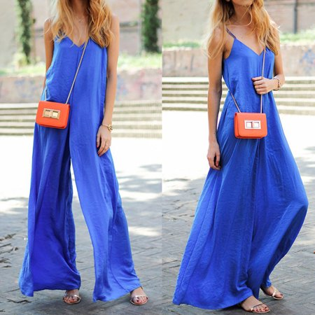 Women Clubwear Summer Sleeveless Loose Party Jumpsuit Playsuit Beach Trouser Blue Size XL](Blue Jumpsuit)