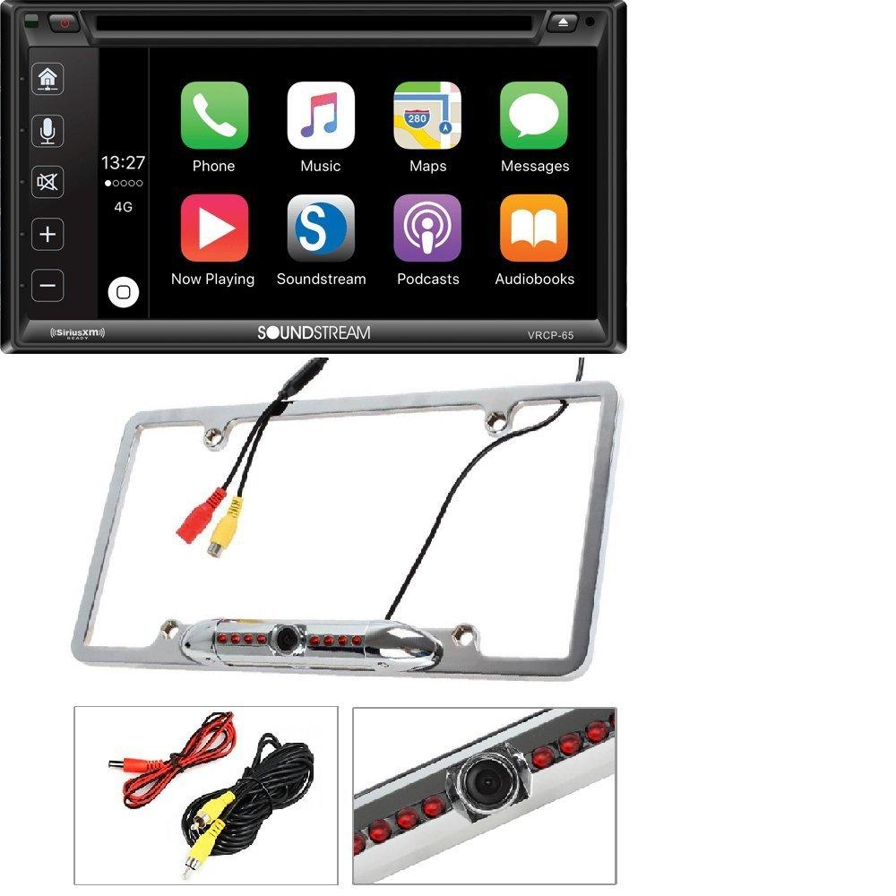 """Soundstream VRCP-65 6.2"""" CD DVD Bluetooth iPhone Apple Carplay Sirius XM Ready Cache Night Vision Car License Plate... by Cache%2C Soundstream"""