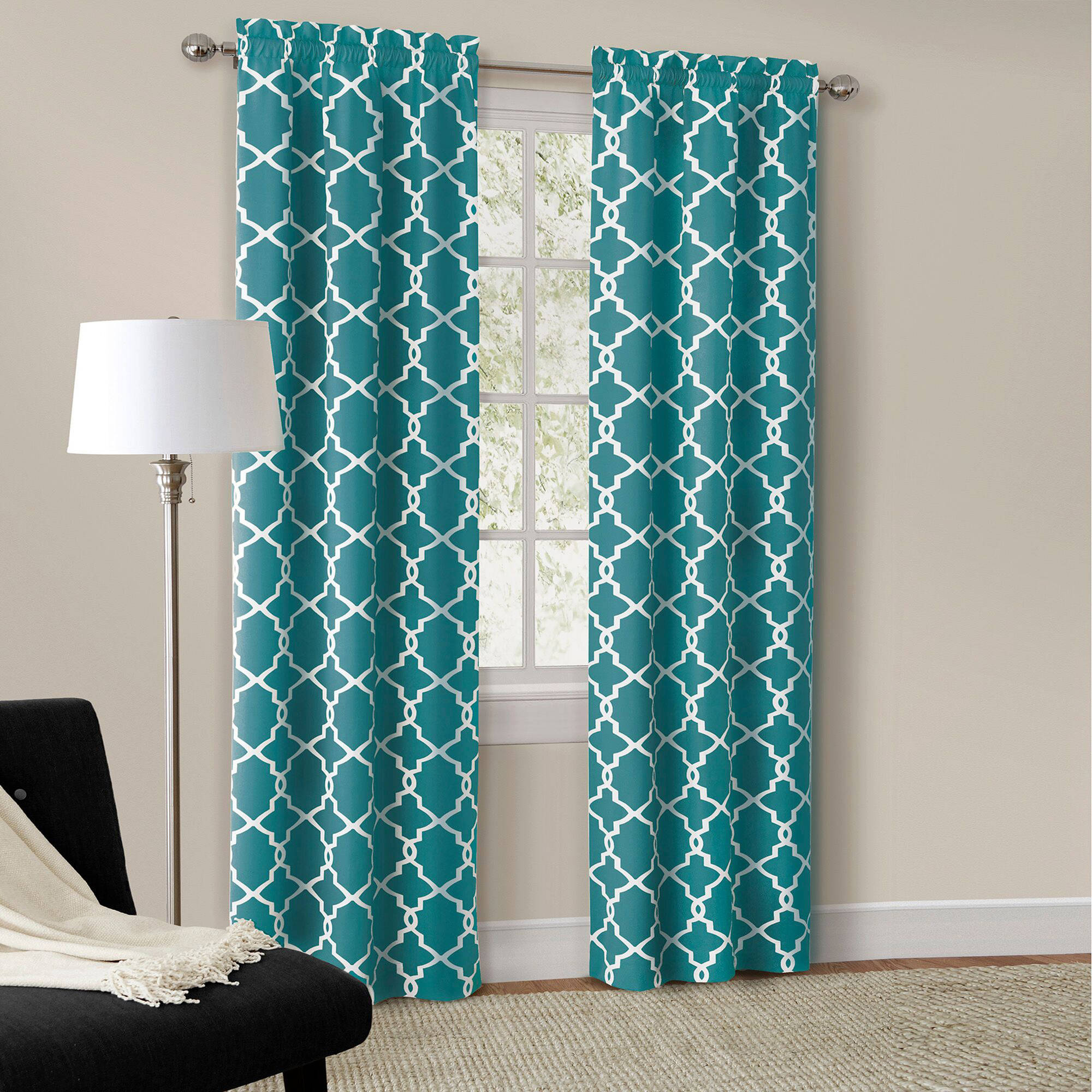Walmart Curtains For Living Room Mainstays Calix Fashion Window Curtain Set Of 2  Walmart