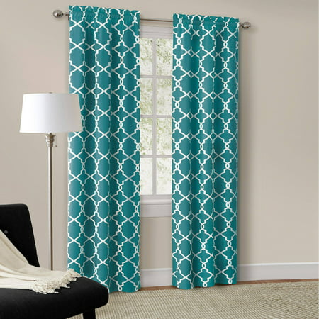 Mainstays calix fashion window curtain set of 2 - Turquoise and yellow curtains ...