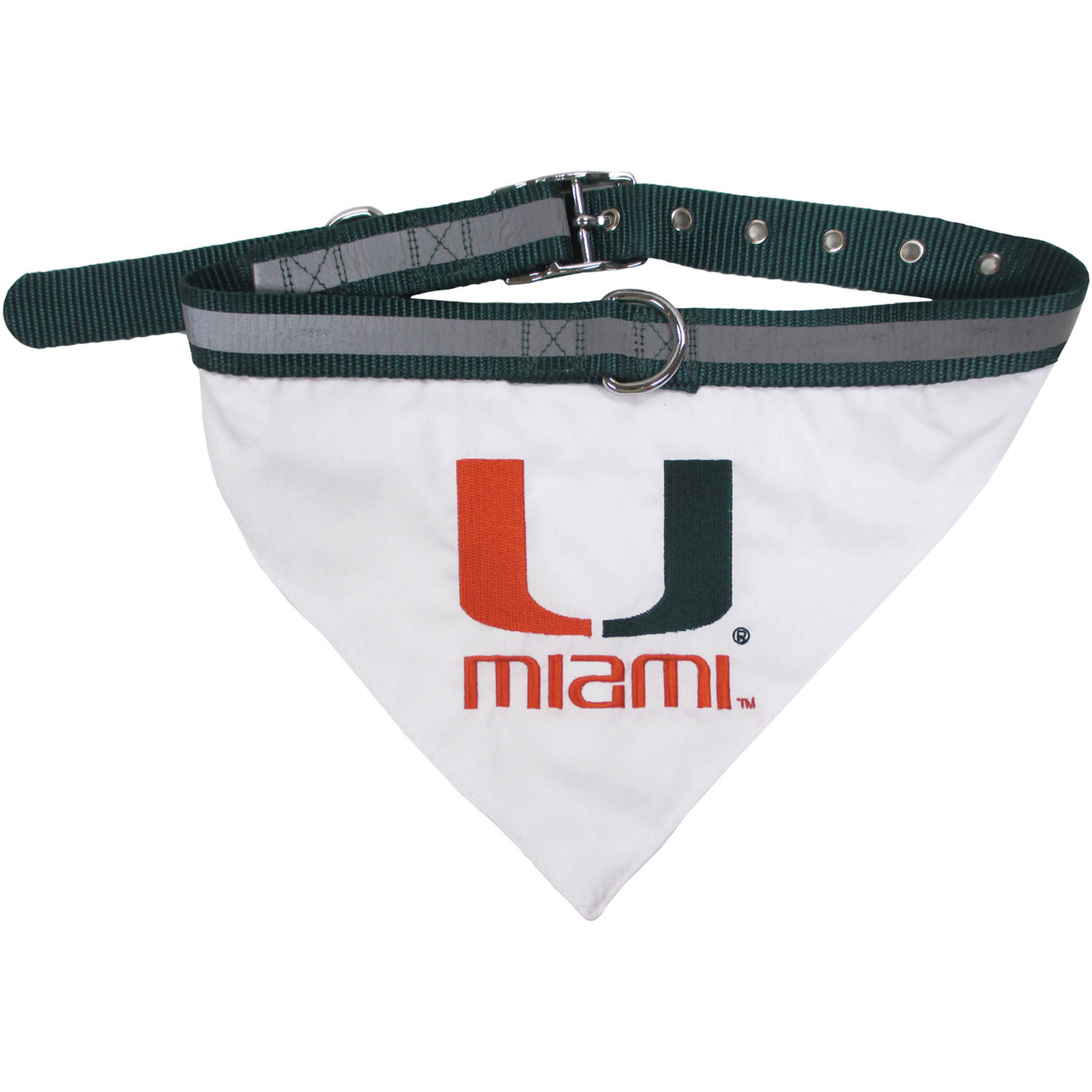 Pets First College MIami Hurricanes Pet Bandana, 3 Sizes Available with Collar