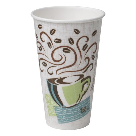 Dixie® PerfecTouch® (5356DX) 16 oz. Insulated Paper Hot Coffee Cup by Georgia-Pacific, Fits Large Lids, Coffee Haze, 20 Sleeves of 25 Cups (500 Cups Total)