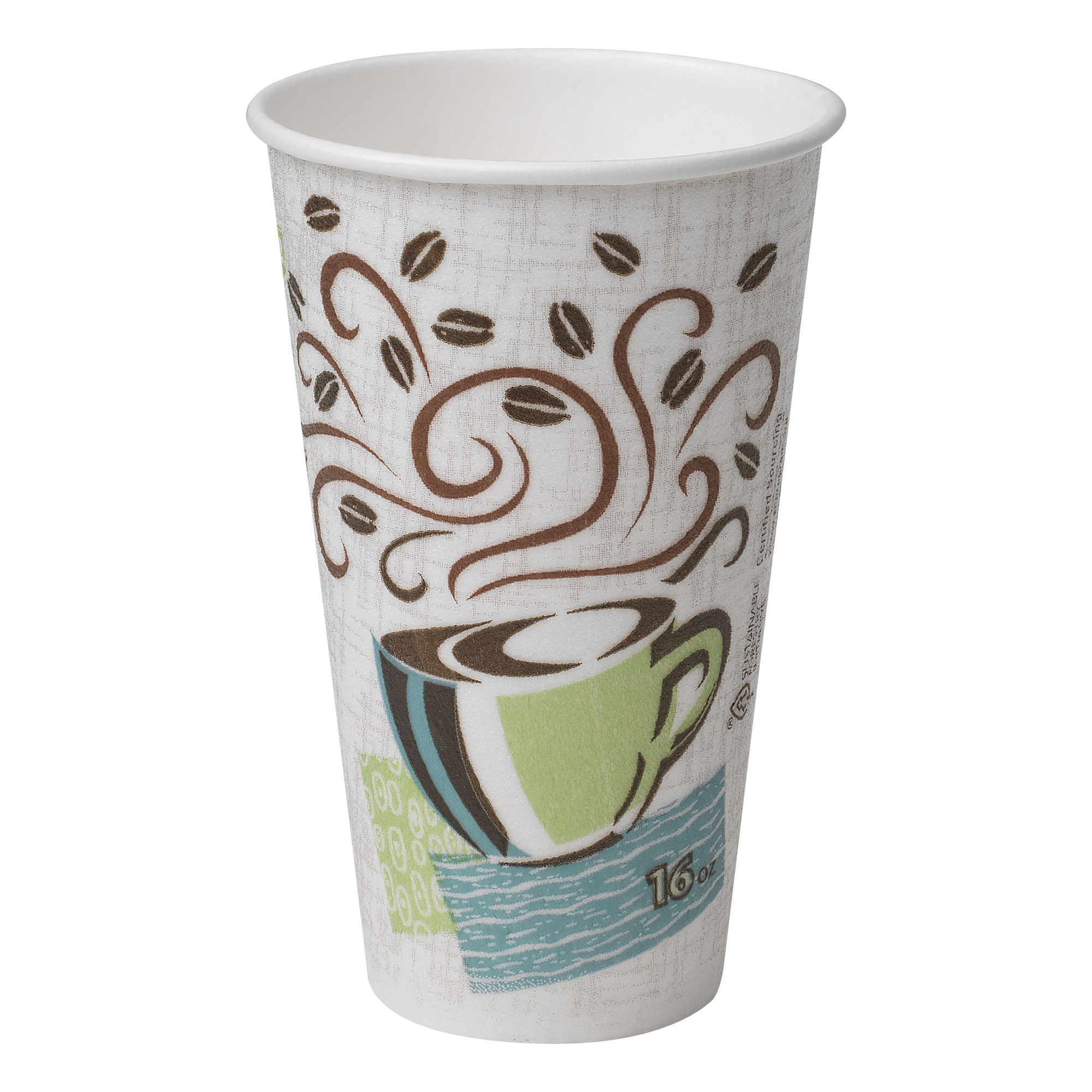 Dixie® PerfecTouch® (5356DX) Insulated 16 oz. Paper Hot Cup by Georgia-Pacific, Coffee Haze, 20 Sleeves of 25 Cups (500 Cups Total)
