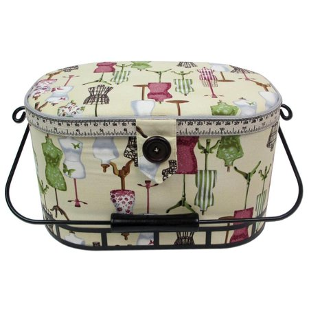 St Jane Sewing Basket Large Oval Metal Hndl AntWht ()