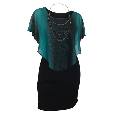 eVogues Plus Size Layered Poncho Dress Glitter -