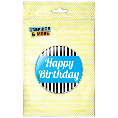 Happy Birthday Button (Happy Birthday Blue with Stripes Refrigerator Button)