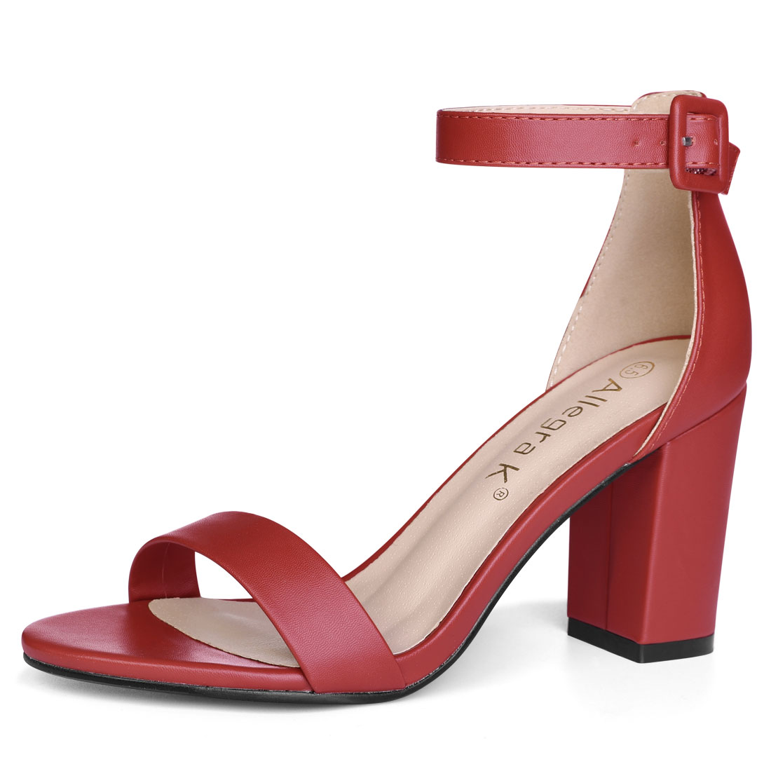 YFL284-66 Women Open Toe Chunky High Heel Ankle Strap Sandals Red/US 9.5 - image 7 de 7