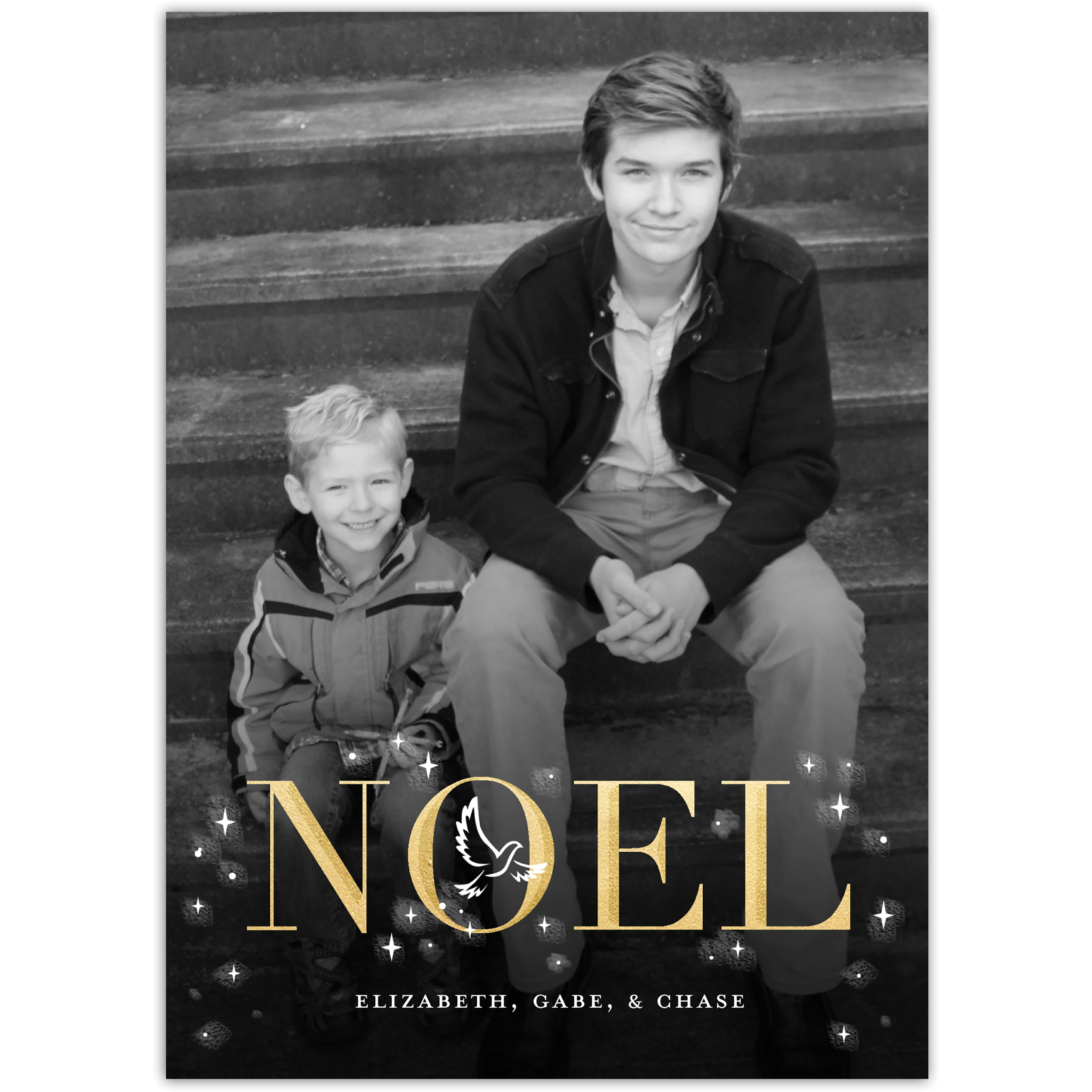 Noel - 5x7 Personalized Religious Holiday Card