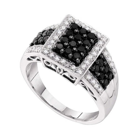 14kt White Gold Womens Round Black Color Enhanced Diamond Rectangle Cluster Ring 5/8 Cttw - image 1 of 1
