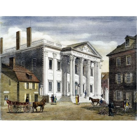 First Bank Of Us 1799 Nthe First Bank Of The United States In Third Street Philadelphia Colored Line Engraving 1799 By William Birch   Son Rolled Canvas Art     18 X 24