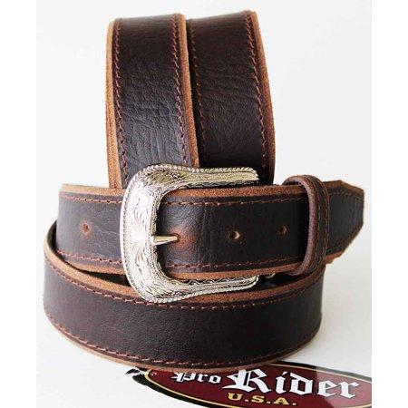 Unisex Full Grain Cowhide 100% Leather Casual Dress Belt Brown 2608RS2803 Double Gusset Full Grain Cowhide