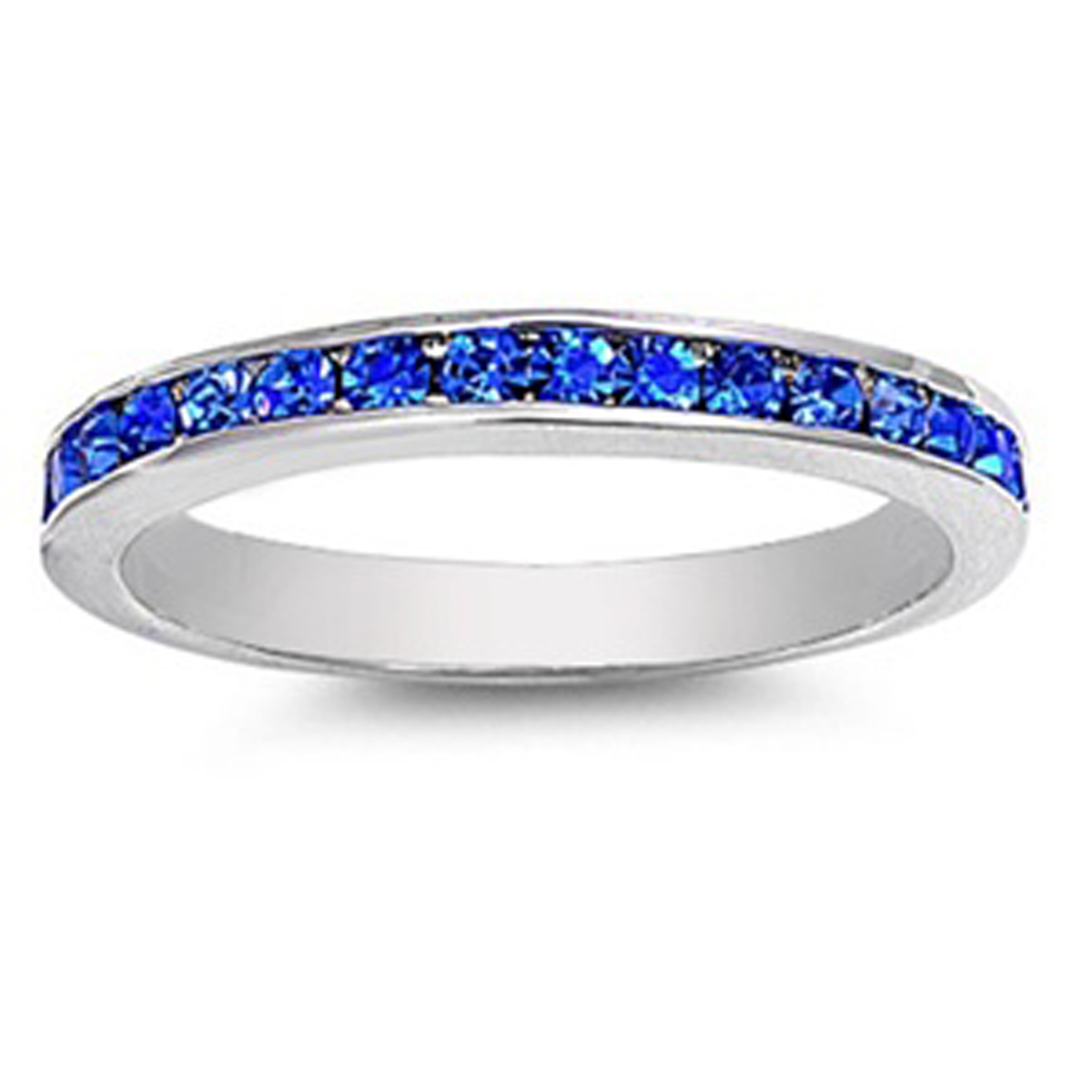 Sterling Silver Women's Flawless Blue Cubic Zirconia Wedding Eternity Ring (Sizes 3-12) (Ring Size 6)