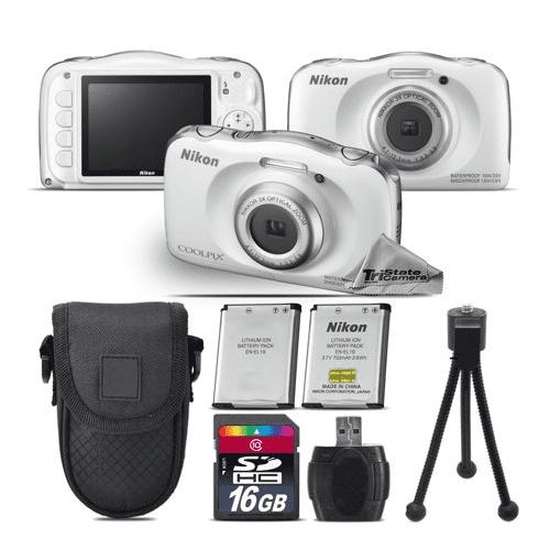 Nikon Coolpix W100 Point and Shoot Digital Camera - White - Kit A