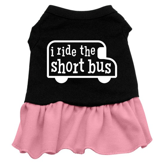 I ride the short bus Screen Print Dress Black with Pink Sm (10)