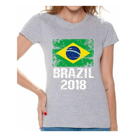 Awkward Styles Brazil 2018 Shirt for Women Brazilian Flag Tshirt Soccer Gifts