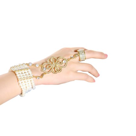 Women Simulated Pearl Bracelet Ring Set Stretchy Great Gatsby Inspired Women 1920s Retro Accessories for Wedding - Great Gatsby Inspired Gifts