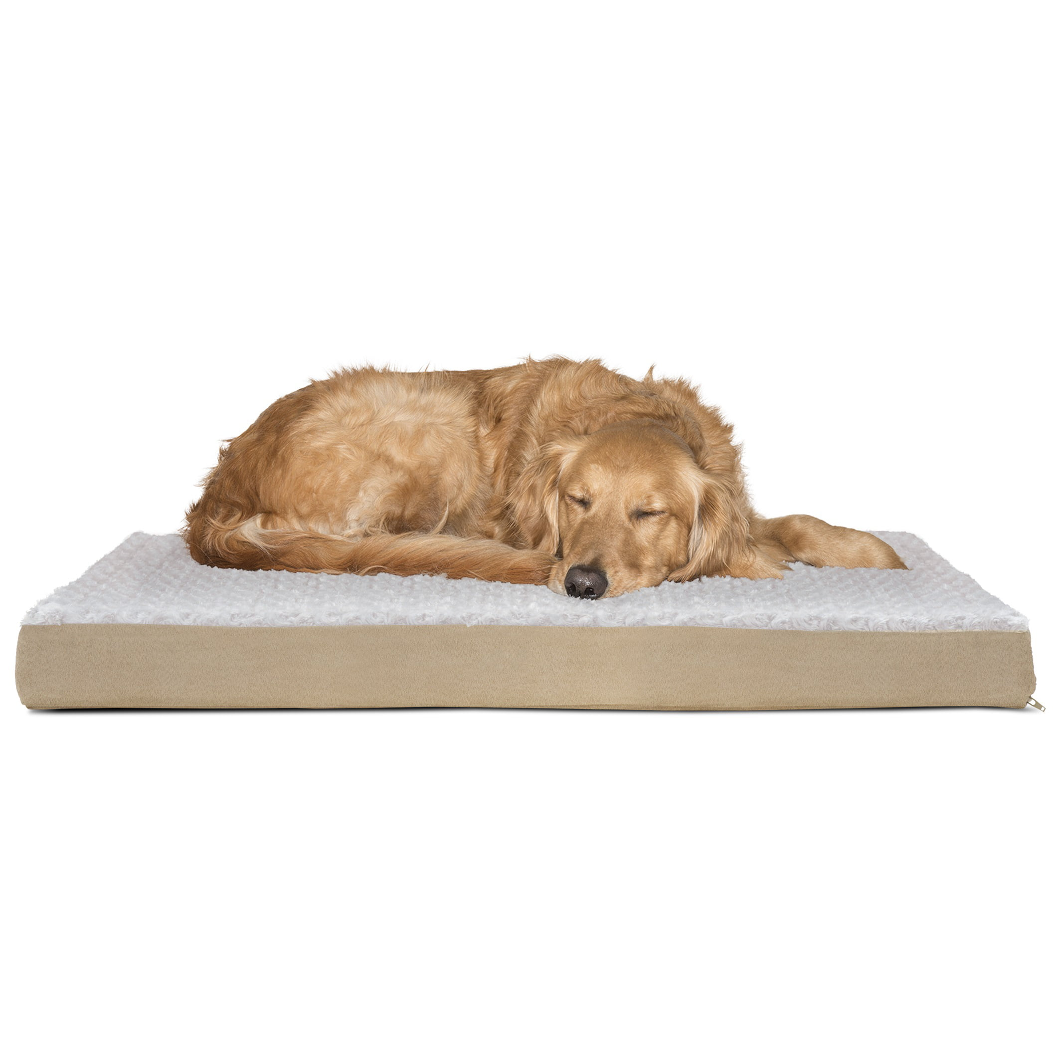 FurHaven Pet Dog Bed   Deluxe Orthopedic Ultra Plush Mattress Pet Bed for Dogs & Cats, Cream, Large