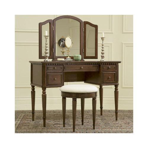 Powell Furniture Warm Cherry Vanity Set with Mirror
