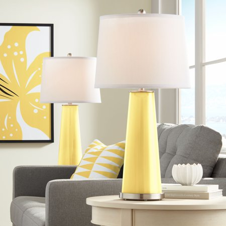 Color Plus Modern Table Lamps Set of 2 Daffodil Yellow Glass Tapered Column Plain White Drum Shade for Living Room Family Bedroom