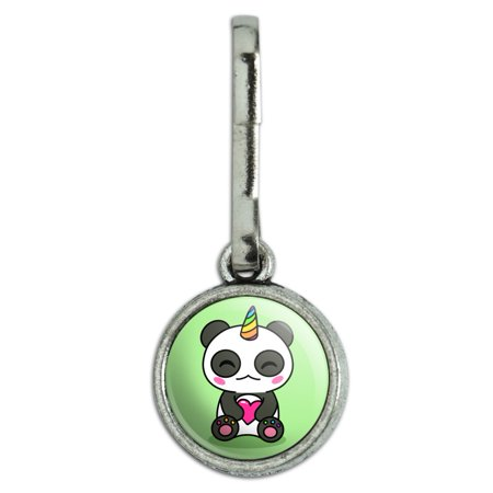 Cute Kawaii Unicorn Panda Holding Heart Antiqued Charm Clothes Purse Suitcase Backpack Zipper Pull Aid