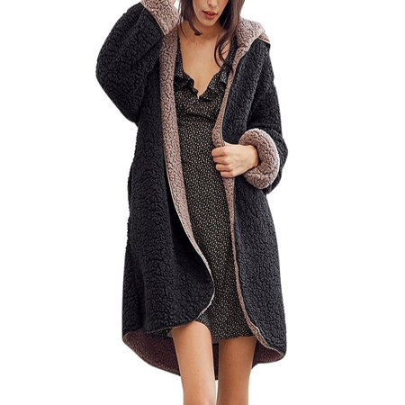 3cb803f3229 Nicesee - Nicesee Casual Women Winter Warm Faux Fur Reversible Outwear Hooded  Coat - Walmart.com