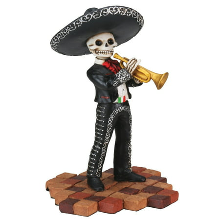 - Skeleton Black Mariachi Band Trumpet Player Day of the Dead Figurine
