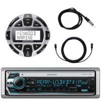 "Kenwood Single DIN Marine Boat Yacht USB CD Player Bluetooth Stereo Receiver, Kenwood Digital LCD Display Wired Remote, 40"" Enrock AM/FM Antenna, 7 Meter 22 Ft Extension Cable"