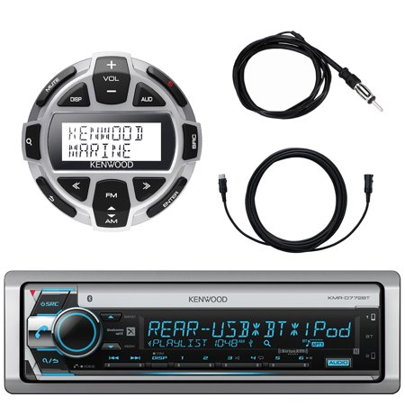 Kenwood Single DIN Marine Boat Yacht USB CD Player Bluetooth Stereo Receiver, Kenwood Digital LCD Display Wired Remote, 40