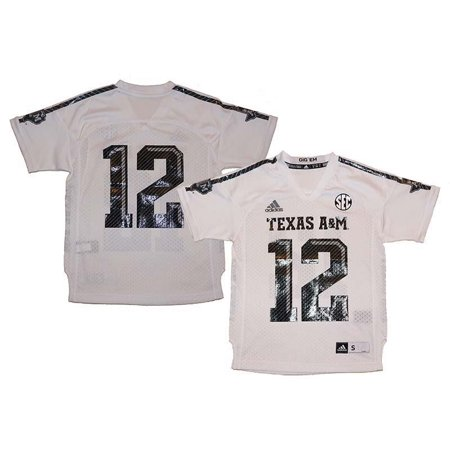 North Texas Football - Texas A&M Aggies #12 NCAA Adidas Youth White Replica Football Jersey