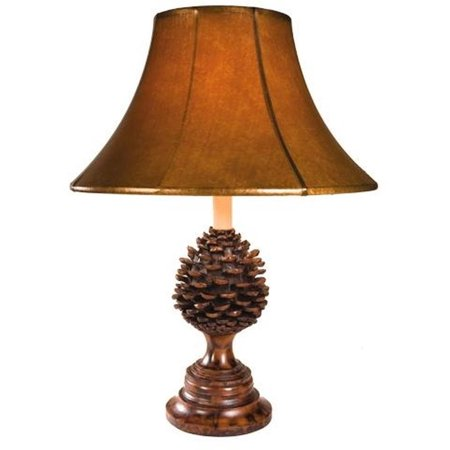 Sculpture Table Lamp Rustic Pinecone Hand Painted Made in USA OK Casting Pinecone Mission Table Lamp
