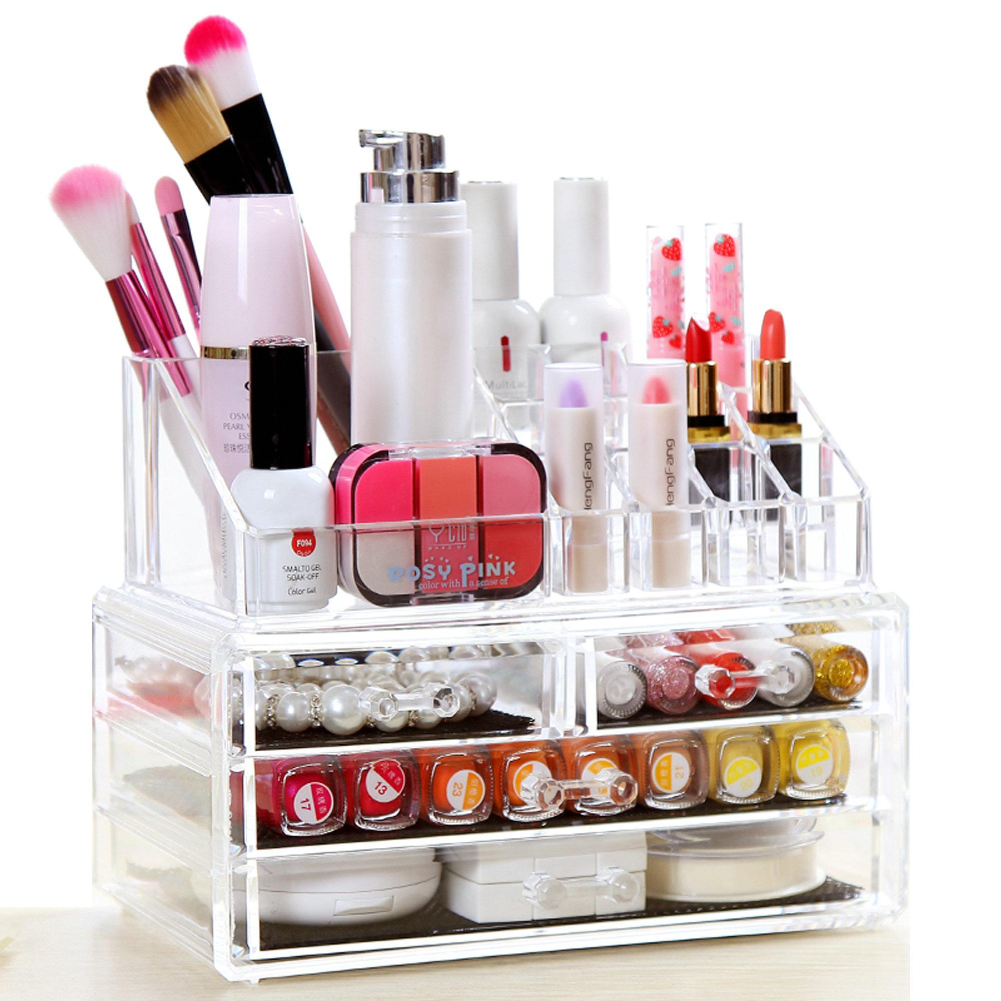 Acrylic r 4 Drawers Cosmetic Makeup Organize Case Storage Holder Box