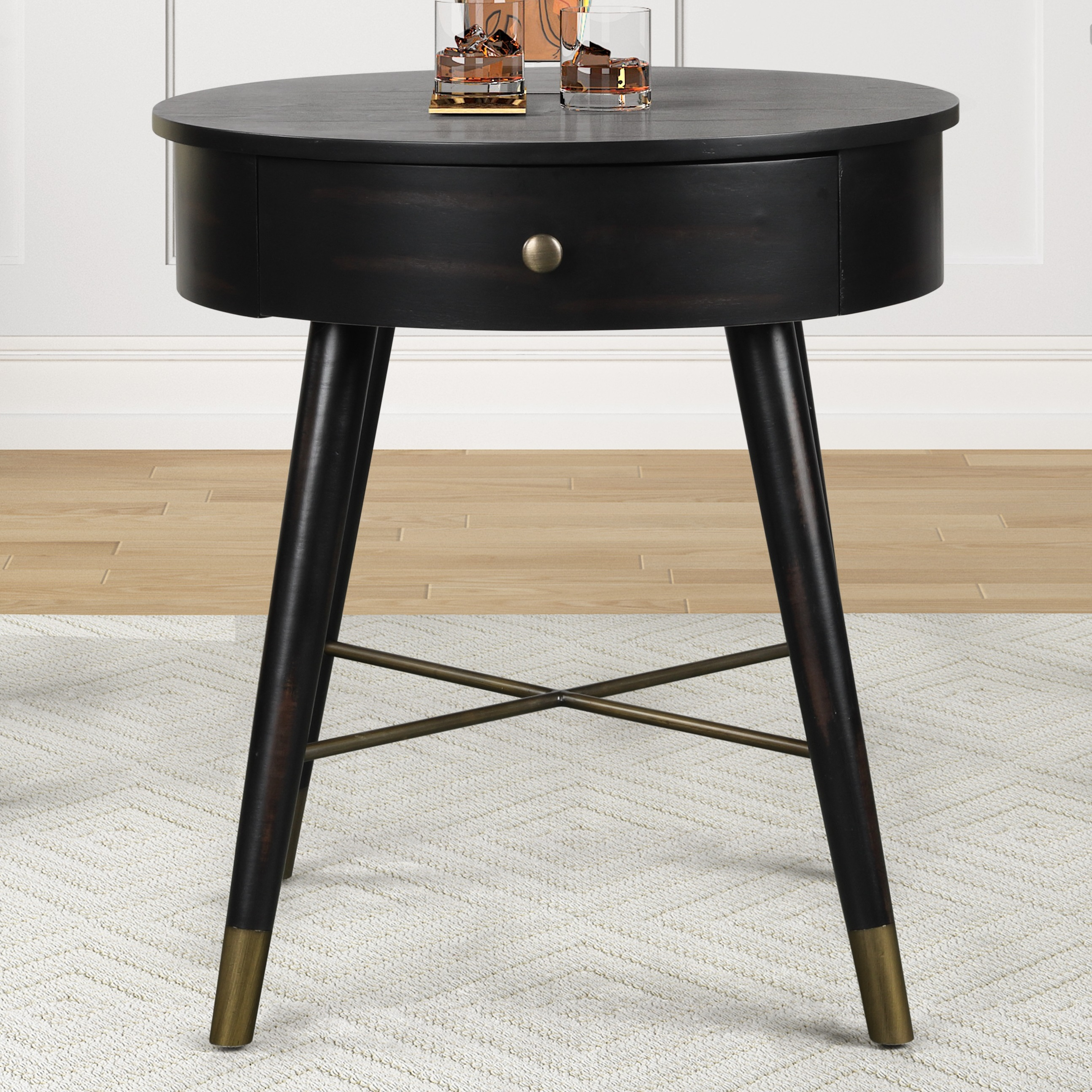 Velsen Mid Century Modern Wood And Metal End Table With Drawer Antique Black Walmart Com Walmart Com