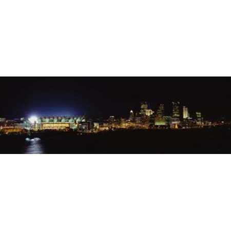 Stadium lit up at night in a city Heinz Field Three Rivers StadiumPittsburgh Pennsylvania USA Poster Print
