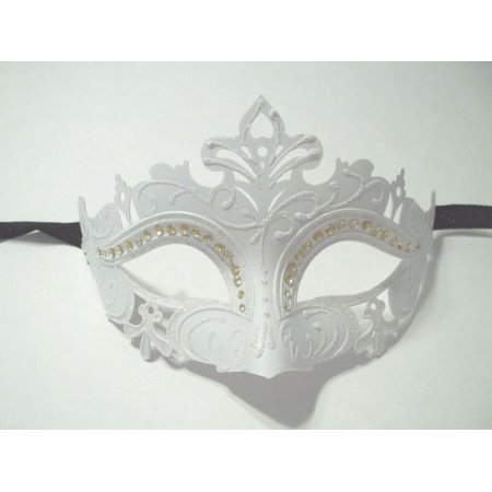White Princess Crystal Mardi Gras Masquerade Mask