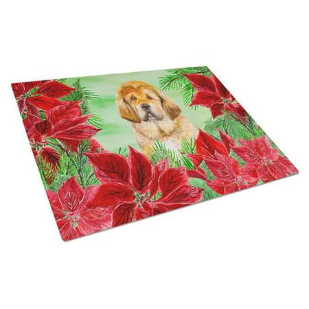 Carolines Treasures CK1368LCB Tibetan Mastiff Poinsettas Glass Cutting Board, Large - image 1 of 1