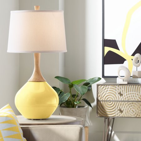 Color Plus Modern Table Lamp Daffodil Yellow Glass Wood Neck Plain White Drum Shade for Living Room Family Bedroom Bedside Office