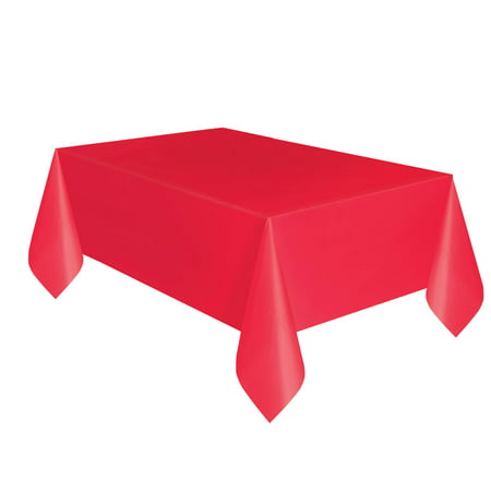 Red Plastic Party Tablecloth, 108 x 54in, 2ct (Blue Gingham Tablecloth Plastic)